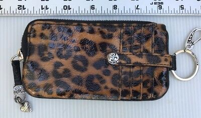 Brighton ID Card Wallet key ring Brown Animal Print Coin Change Zippered Clip