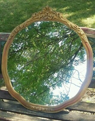 Antique wall mirror gold gesso frame 28""
