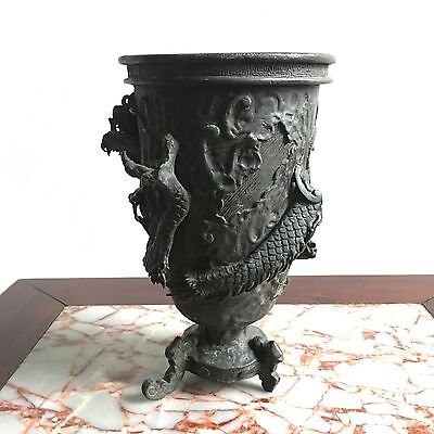Asian Collectible Ancient Old Bronze Dragon Incense Burner