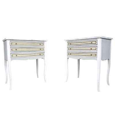 Elegant Pair of French Antique Nightstands in Louis XVI-Style w/Marble
