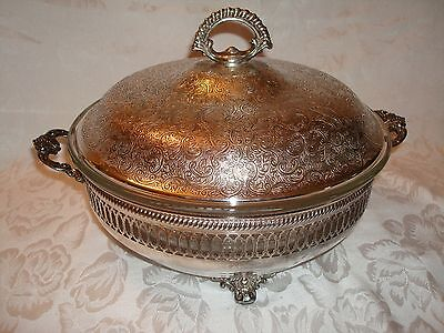 Lovely Large Silver Covered Casserole Entree Dish & Ovenproof Liner