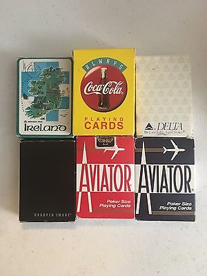 Lot Of Playing Cards- Coca Cola Sharper Image Delta Aviator Ireland 7 Decks!