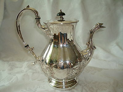 Morton-Parker Marlboro Plate Bright Cut Silver Coffee Pot