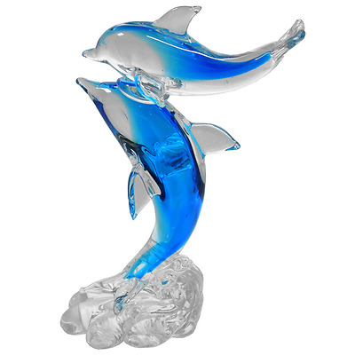 New Handmade Colour Glass Mother Baby Dolphin Standing on Tails Light Blue