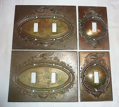 4 Brass Switch Plate Covers