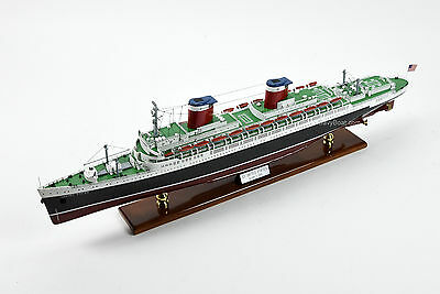 """SS United States Ocean Liner Handmade Wooden Ship Model 34"""" Scale 1:350"""