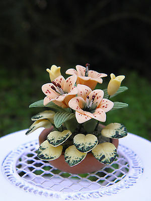 Miniature Dollhouse FAIRY GARDEN ~ Tiger Lily Flowers in Planter Pot  ~ NEW
