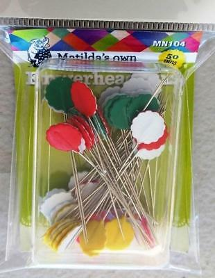Matilda's Own Flowerhead Pins Box Of 50 X .55Mm For Sewing Or Quilting