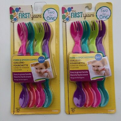 The First Years Two for One Toddler Utensils Spoons Forks 9+ Girls 2 Packs LOT