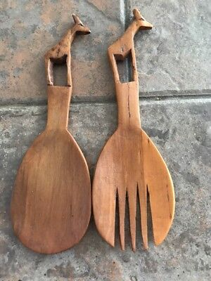 Wooden Spoon/Fork Set with Carved Giraffe from Kenya 8""
