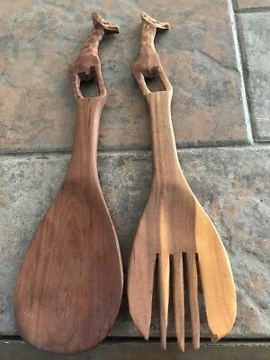 Wooden Spoon/Fork Set with Carved Giraffe from Kenya 12""