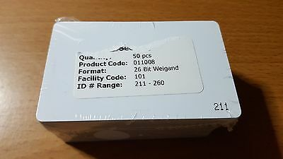 HID 26bit Wiegand ISO-30 proximity access cards x 50. SC101, Users 211-260