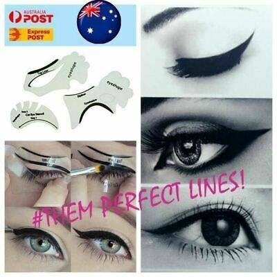 7 PCS Eyeliner Stencil Top Bottom Smokey & Cat Eye Liner Template Makeup Tool AU