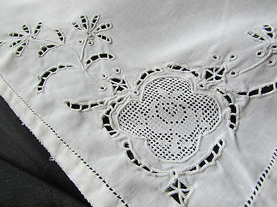 Vintage / Antique White Lace Small Travel Size Pillowcase Open Cut Work