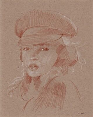 ORIGINAL FEMALE HEAD PORTRAIT 11x14 RED CHALK PASTEL DRAWING COMBINED SHIPPING