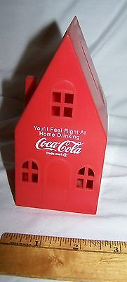 1950s Coca Cola red plastic House Coin Bank-You'll Feel Right At Home logo