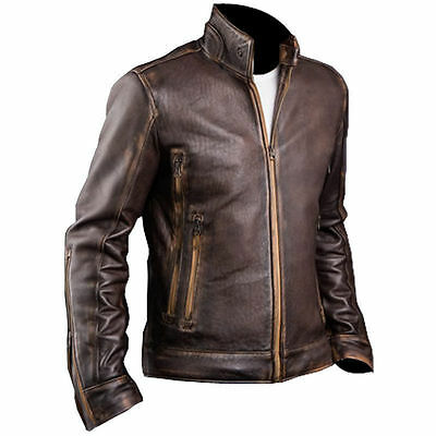 Mens Biker RETRO Cafe Racer 2 Vintage Motorcycle Distressed Brown Leather Jacket