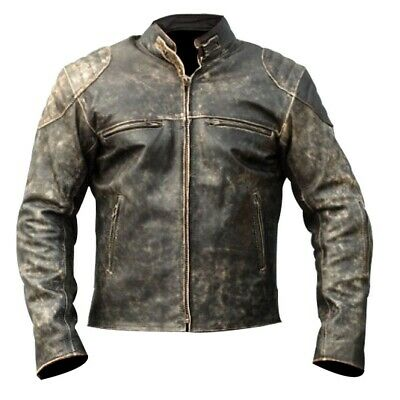 Mens Best Seller Antique Vintage Biker Moto Cafe Racer Distressed Leather Jacket