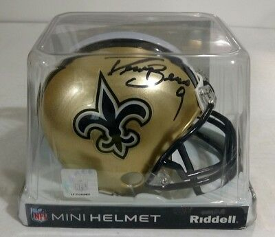 Drew Brees autographed mini helmet with a certificate of authenticity