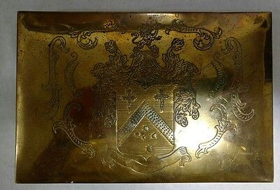 """Rare Andrea by Sadek 6"""" rectangular etched brass with crest covered box"""