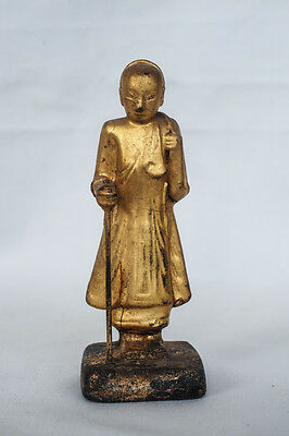 Antique Burmese Buddha Statue Sivalee  Wood Dry Lacquer  Gold 19 th Century 004
