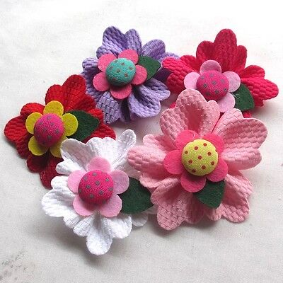 5PCS Large Padded Felt Ribbon Flowers 60mm Bow Appliques Decor Mix #370