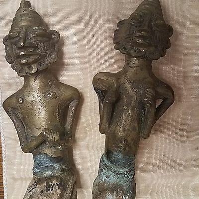 Antique African Bronze/Brass Cast Hanging Fertility Pair Couple Male Female