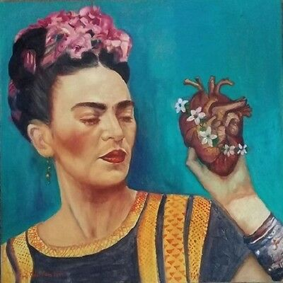 Beautiful Frida Kahlo painting by Mexican artist Amy Gastelum oil canvas hearth