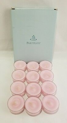 Partylite Strawberry Rhubarb Tealight Candles 1 dozen Pink