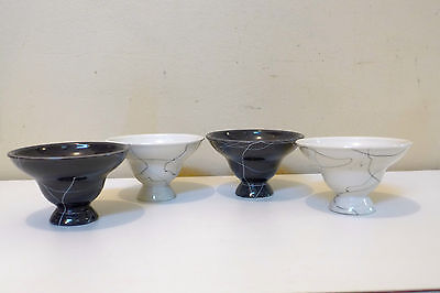 4 Dessert Bowls Grey and White Footed Bowl Carrara Modern China by Iroquois