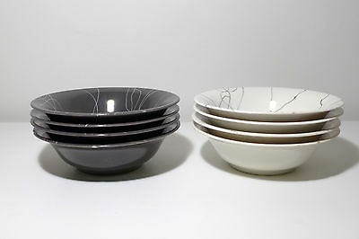 8 Soup Salad Cereal Bowls 4 Grey 4 White Carrara Modern China by Iroquois Chips