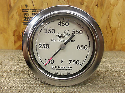 Old 1940's Fauld's Oven Dial Thermometer 750*F Farenheit Chrome Detroit, MI