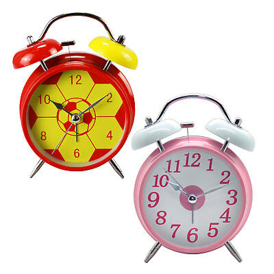 Traditional Quartz Chrome Metal Double Bell Bedside Table Alarm Clock