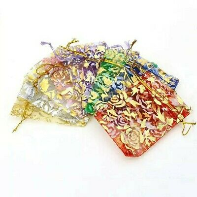 10x Gift Bags Organza Pouch Jewellery Mixed Color Packing Present Packaging