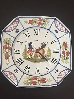 HB Henriot Quimper France Hand-Painted Wall Clock