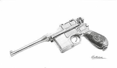 "Drawing of a Mauser C96 ""Red 9"" semi automatic pistol in graphite - Original"