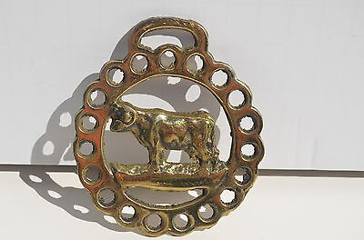 Vintage Brass Horse Bridle Saddle Harness Medallion Ornament Cow