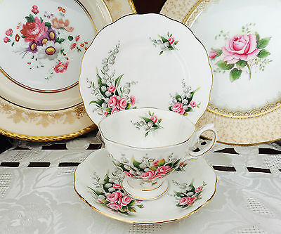 Vintage Royal Albert Bone China England 'lily Of The Valley' Trio C1950's