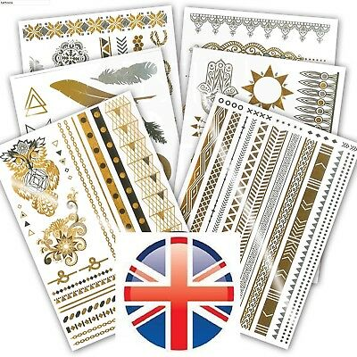 6Pcs Metallic Flash Tattoos Henna Body Temporary Body Tattoo Stickers Gold Ibiza