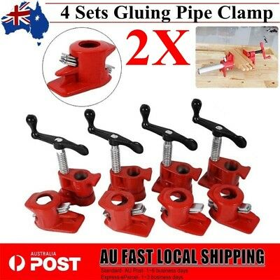 """2X Gluing Pipe Clamp 3/4"""" 4 Sets- Woodworking Vice Hand Tool Brand New"""