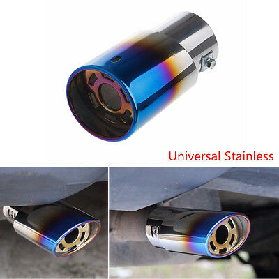 1 Pcs Stainless Steel Blue Colorful Car Rear Round Exhaust Pipe Tail Muffler Tip