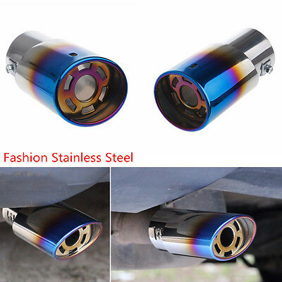 Rear Blue Colorful Durable Stainless Round Exhaust Pipe Tail Muffler Tip for Car