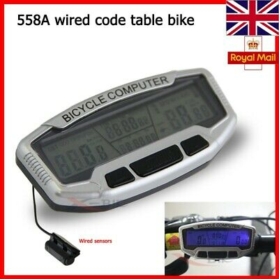 New Uk Bicycle Cycle Computer Bike Speedo Odometer Speedometer + Backlight