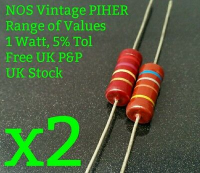 [x2] NOS Vintage PIHER Resistor 1W 5% RANGE OF VALUES 1K to 8M2 RS 1Watt New