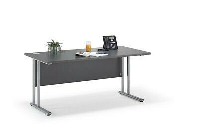 Graphite Grey Straight Cantilever Office Desk with Silver Legs