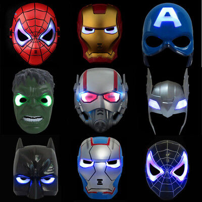 LED Super Hero Mask Avengers Spiderman Hulk Batman Captain America & Iron Man