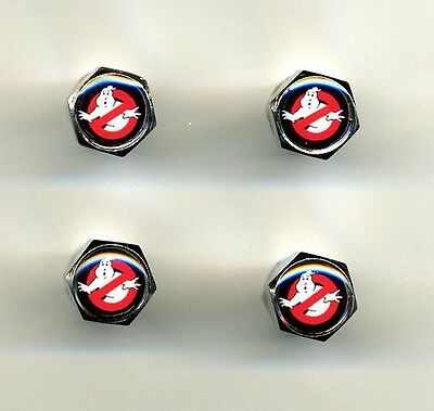 GhostBusters 4 Chrome Plated Brass Tire Valve Caps Car Bike Golf Carts