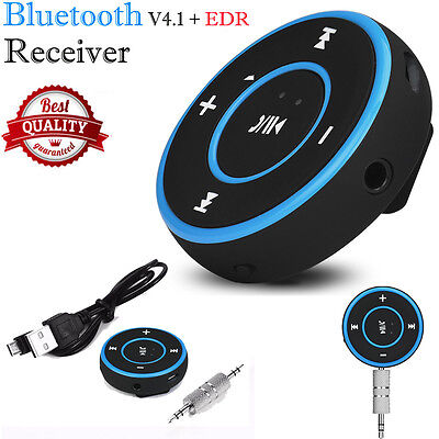 Wireless Bluetooth Audio Stereo Adapter Car AUX Home Music Receiver Dongle Blue