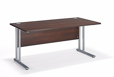 Straight Walnut Cantilever Office Desk