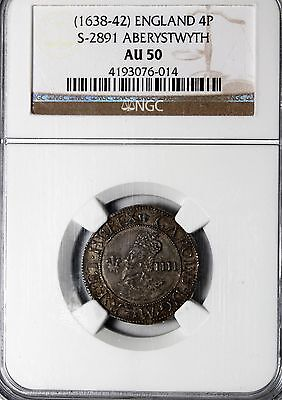 Great Britain 1638-1642 Aberystwyth Charles I Silver Four Pence Groat NGC AU